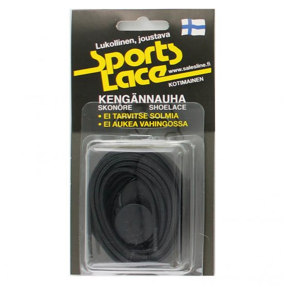 Sports lace pitkä musta litteä elastinen