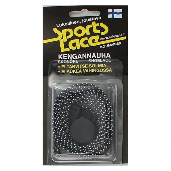 Sports Lace musta-valkoinen litteä elastinen